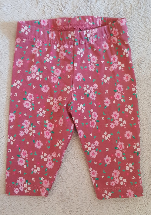 Early Days. Pink leggings with floral pattern. 0-3 months.