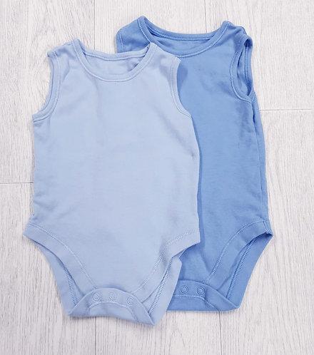 🏴George set of 2 blue vests. 18-24m