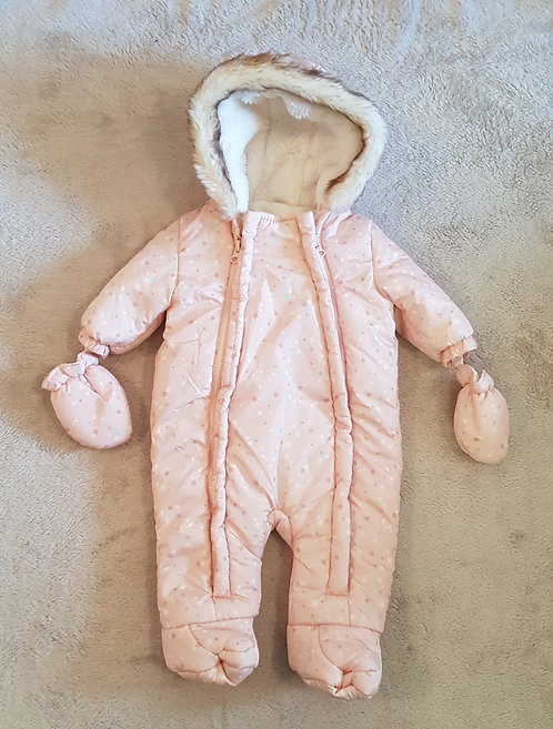 F&F Pink snow suit with star design. Fluffy hood and detachable mittens 0-3m