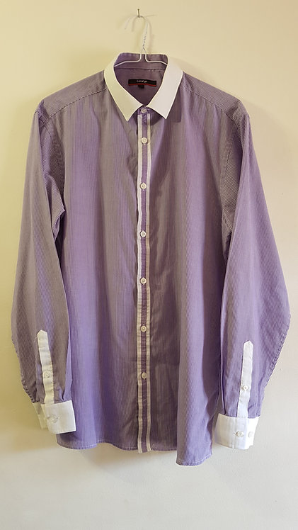 """George. Lilac and white pinstripe shirt.16"""""""