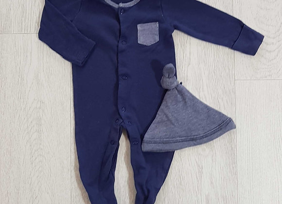 ◾F&F blue sleep suit and hat set. Up to 1month