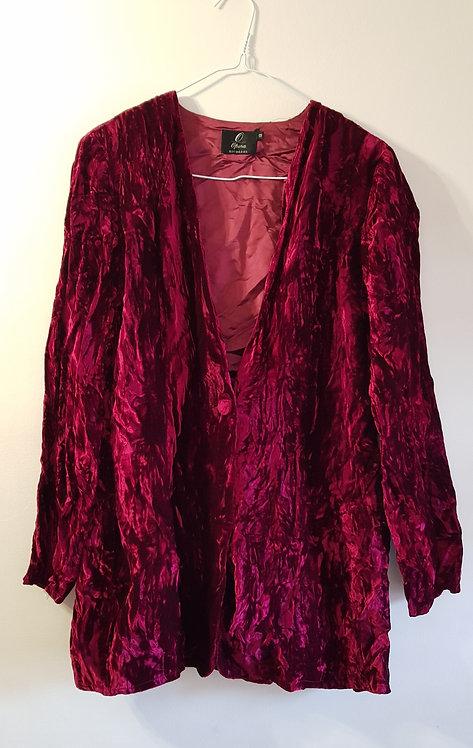 Opera Richards. Red crushed velvet jacket. Size 12.