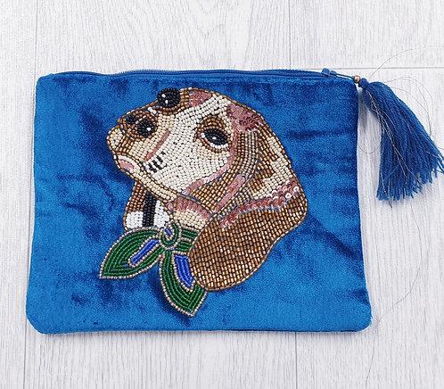 Blue beaded toiletry bag/ clutch purse