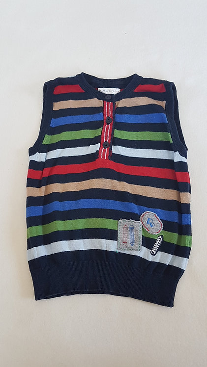 MAMAS & PAPAS. Navy tank top with coloured stripes. Size 12-18 months.