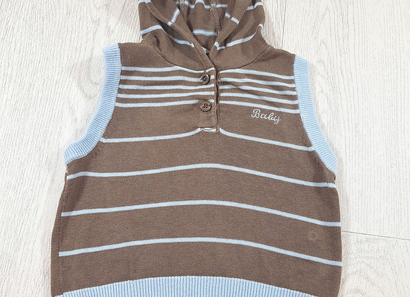 🌈Cherokee baby boys brown and blue knitted tank top