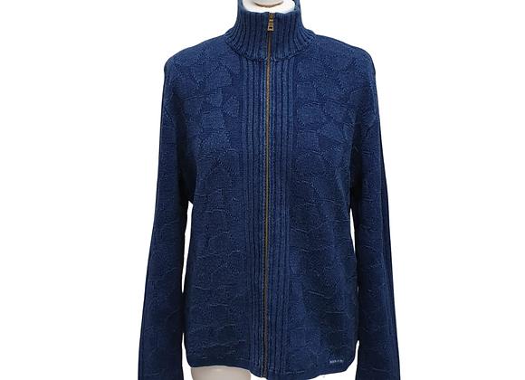 Blue Willis blue zip cardigan. Size L