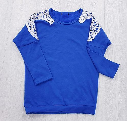 Blue oversized sweatshirt with fleece lining