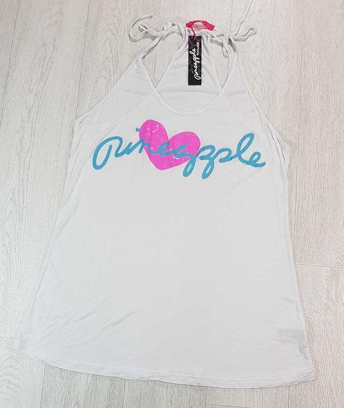 Pineapple white racer back vest top. Size L
