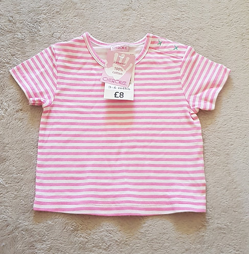 CHEROKEE Pink striped t-shirt. 3-6m. New with tags.