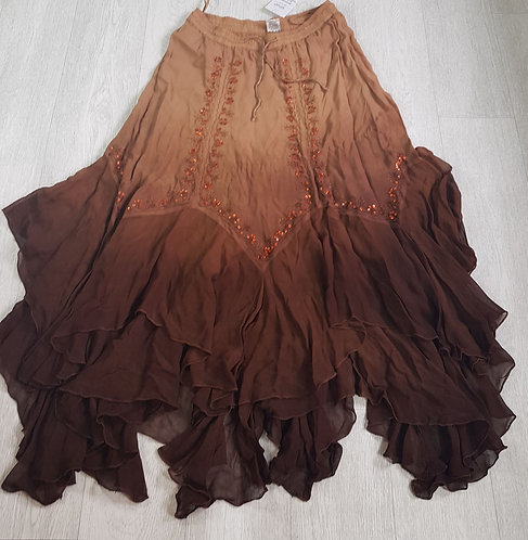 🔵Classic brown Ombre frilled maxi skirt free size(NWT)