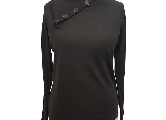 Bianca black knit top with fold down neckline. Eu 42