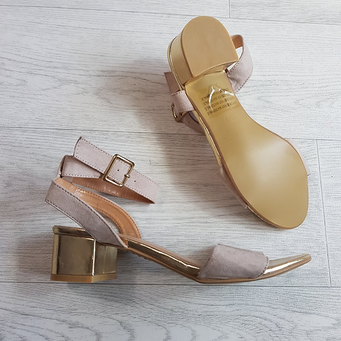Posh nude ankle strap wedge sandals. Size 6 NWOT