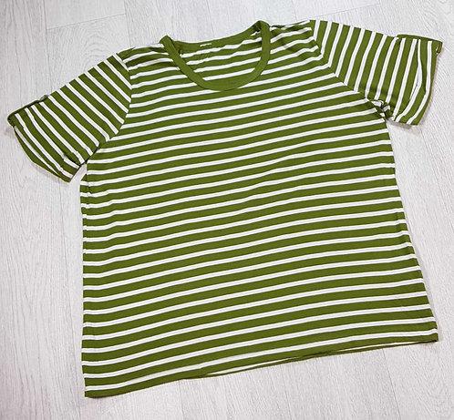 Green/white striped t-shirt. Size 18