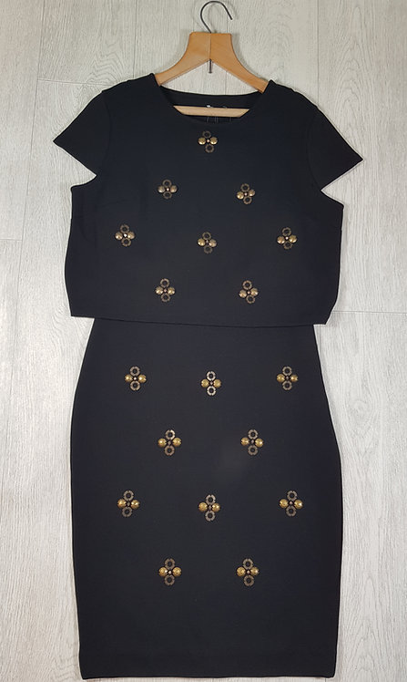 🔷️Coleen X black dress with metal bead detail size 10 (NWT)