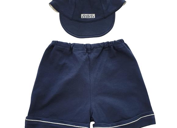 Emile Et Rose navy shorts and cap. 9m