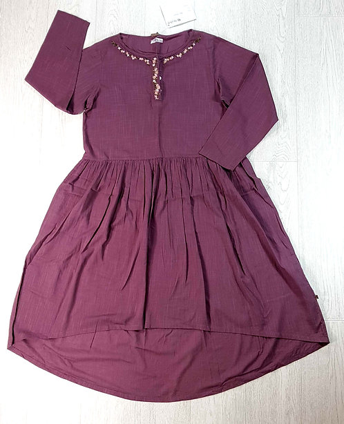 ◾The Shop plum folk dress with embroidery