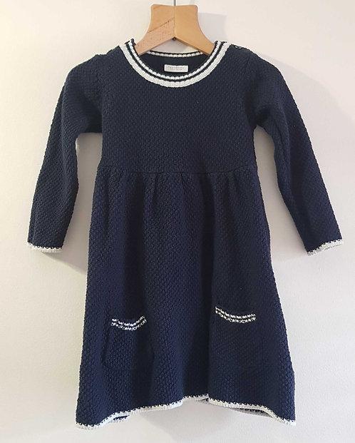 Next navy knit dress with white trim. 12-18m