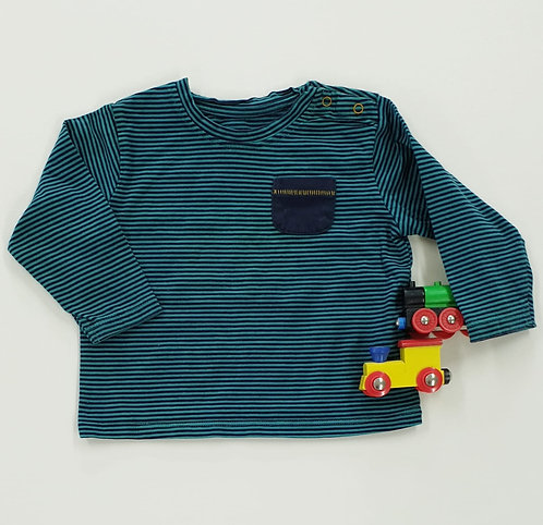 🍂M&S teal/navy striped top. 9-12m