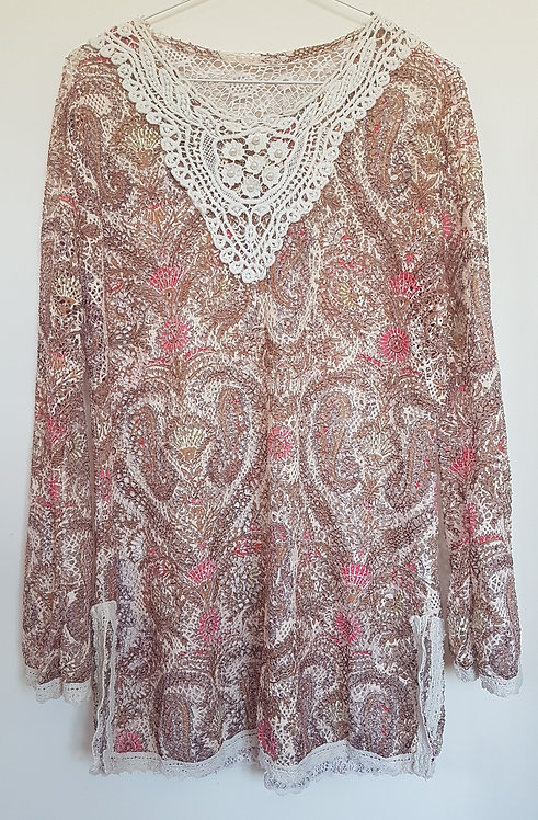 Brown and pink patterned cover up with lace detail