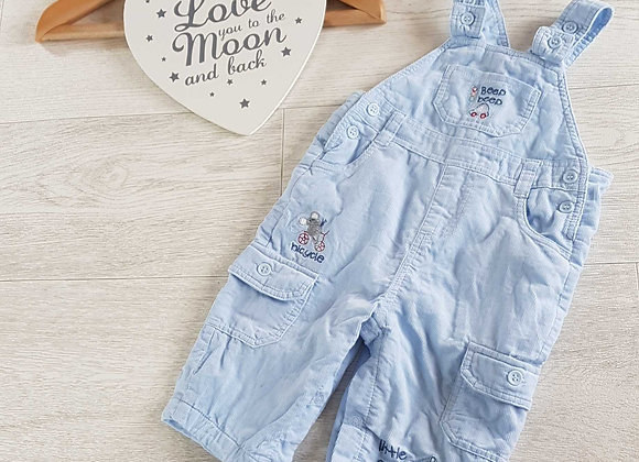 BAMBINI Blue soft dungarees. 3-6m