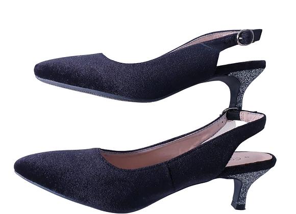 Comfort Plus black kitten sparkly heels. Uk 4 wide