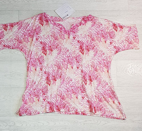 The Shop coral print jersey top. Size M