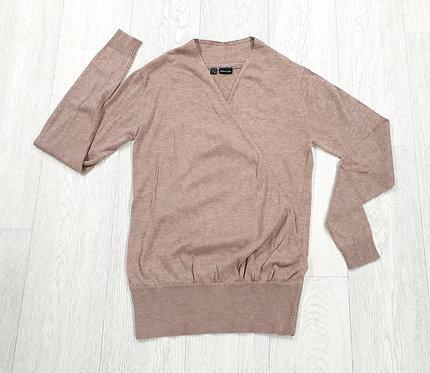 Body Flirt beige/pink knit wrap front sweater. Uk XS