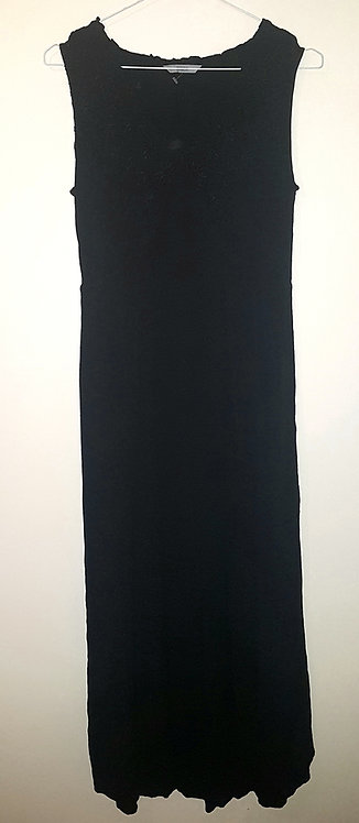 M&S. Black maxi dress with patterned top. Size 14