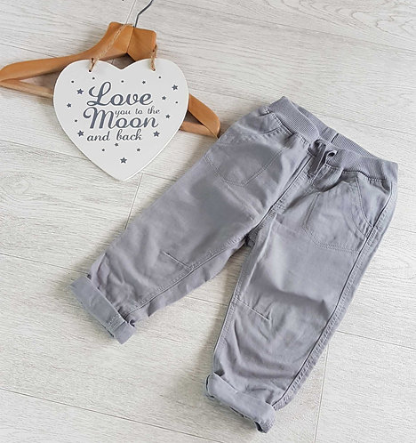 GEORGE Grey turn up trousers. 12-18m