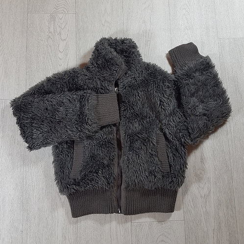 YD girls grey faux fur coat size 9/10 years