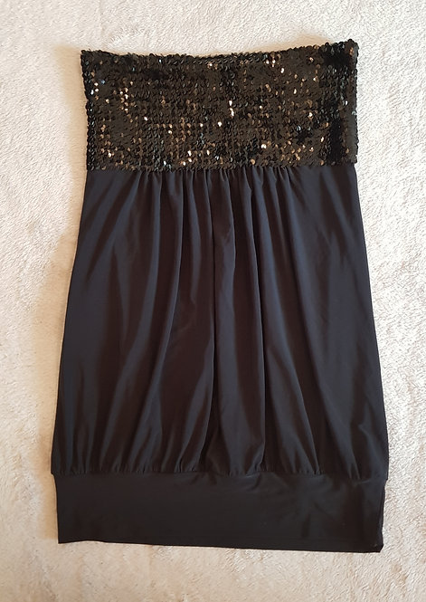 Black strapless sequin top. Size 8-10.