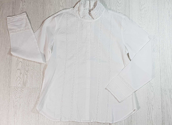 ◾April Cornell white lace, embroidered blouse. Size S NWT