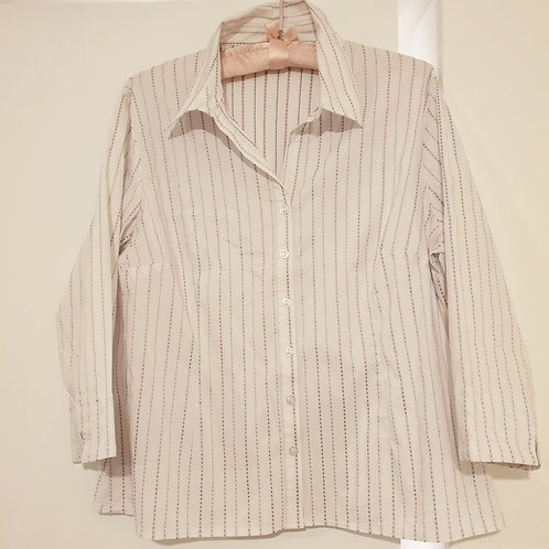 🌼New Look white blouse with purple pinstripes. Size 18