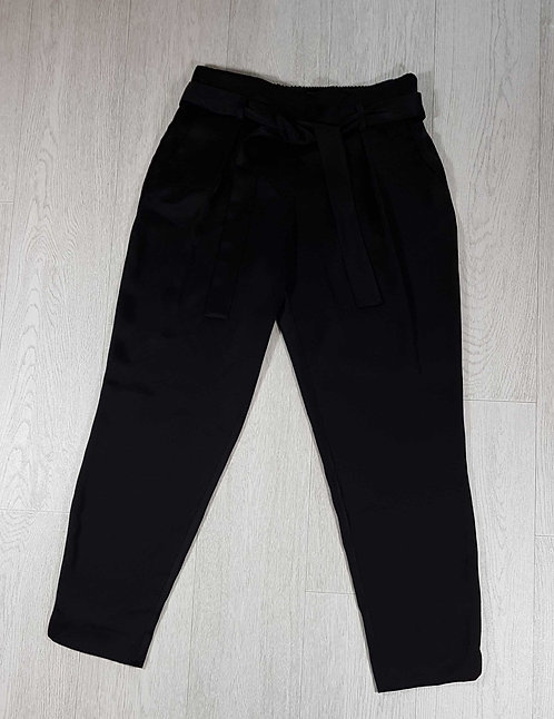 ◾River Island black polyester satin style trousers. Size 10