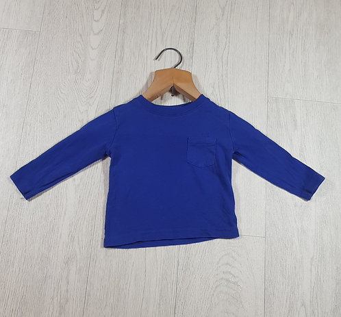 🐠Primark boys blue long sleeve top with pocket size 12-18 months