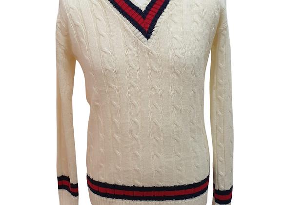 Anybody cream cricket style  jumper. Size M-L