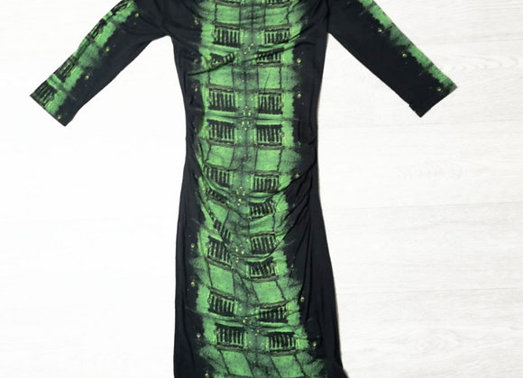 Art Fashion green print dress. Uk 8