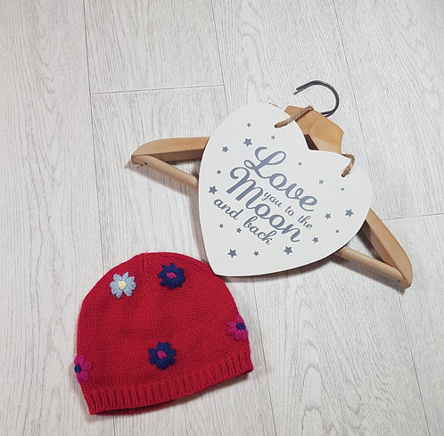 🍭red flower wooly hat size 1 / 2 years