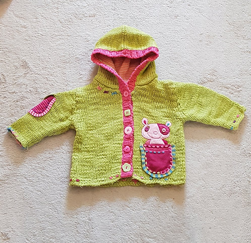 Next. Green and pink knit cardigan with hood. 3-6 months. 18lbs.