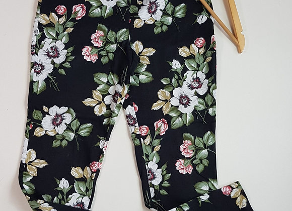 F&F black floral tapered trousers. Size 6