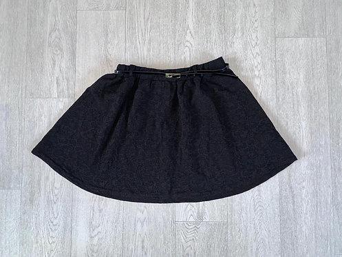 🦊Atmosphere black skater skirt with belt. Size 14