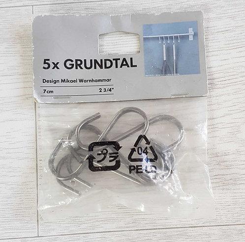 IKEA pack of 5 GRUNDTAL Hooks for kitchen wall utensil hanger. 7cm