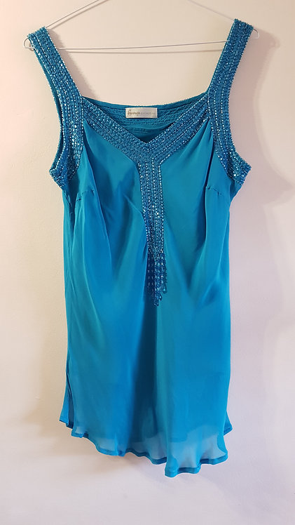 George. Two layered summer top. Beaded detail. Hand wash only. Size 14.