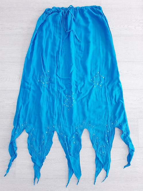 Blue long pixie skirt. One size