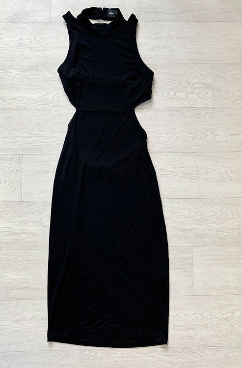 🍃Asos black open back maxi dress. Size 14