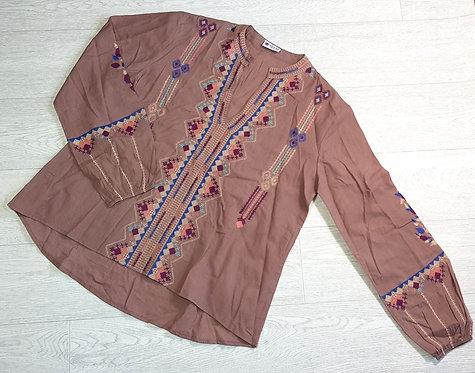 Sevya chocolate brown tunic top. Size M
