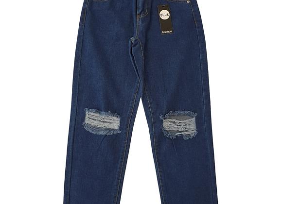 Boohoo Blue distressed knee jeans. Uk 6 NWT