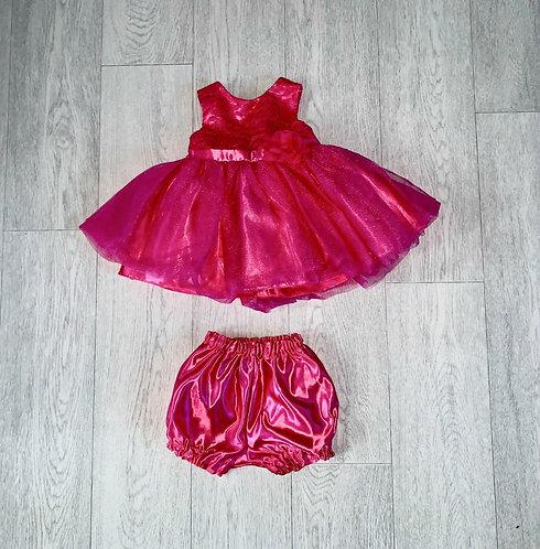 ♦️Couture Princess pink dress & pantaloons. 12m