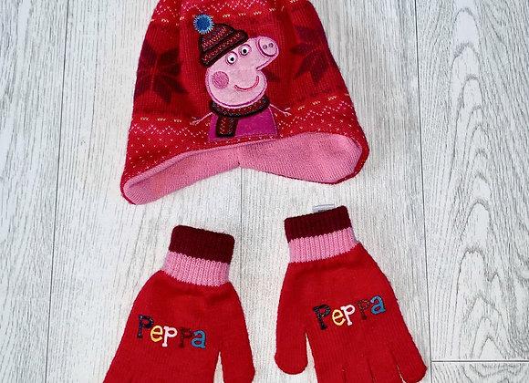 ♦️Peppa Pig pink hat & gloves set. 3-6yrs NWOT
