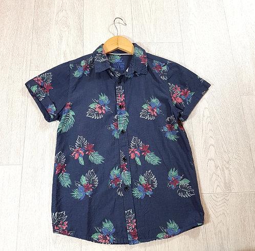 ✴Primark boys navy Hawaiian flower short sleeved shirt size 10/11 years